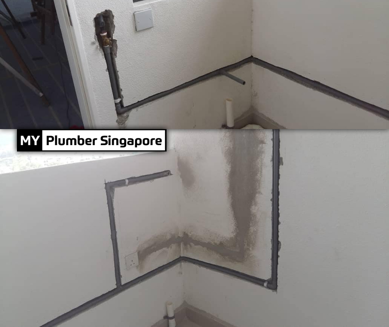Relocate kitchen inlet and outlet piping in Tampines
